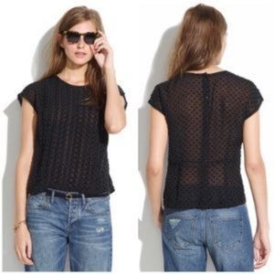 Madewell Sheer Black Blouse Size M